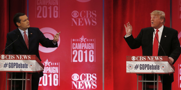 Republican presidential candidate, businessman Donald Trump, right, and Republican presidential candidate, Sen. Ted Cruz, R-Texas, speak at the same time during the CBS News Republican presidential debate at the Peace Center, Saturday, Feb. 13, 2016, in Greenville, S.C. (AP Photo/John Bazemore)
