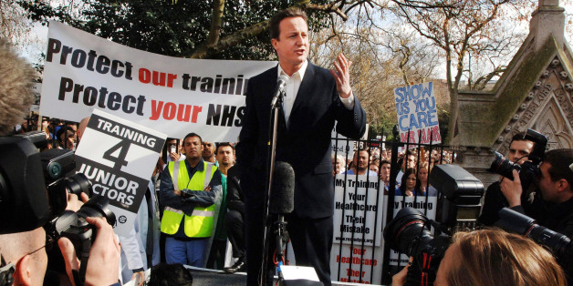 Conservative leader David Cameron addresses surgical trainees protest during a doctor's demonstration in central London today.