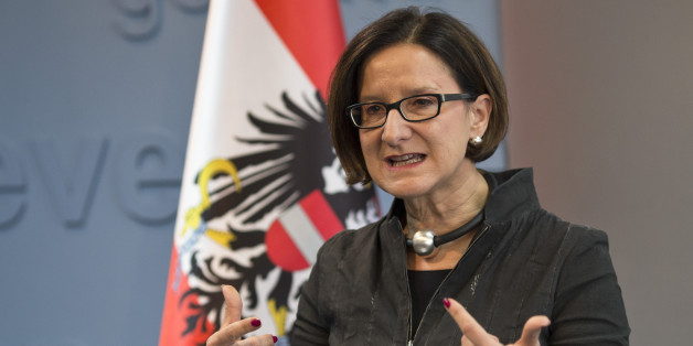 Austrian Interior minister Johanna Mikl-Leitner makes a point during a press conference during her visit to Kosovo in capital Pristina, Friday, Feb. 20, 2015. Johanna Mikl-Leitner will visit Croatia, Serbia, Kosovo and Montenegro from 18-20 Feb. 2015. (AP Photo)