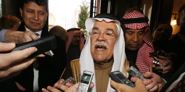 Saudi Arabia's Minister of Petroleum and Mineral Resources Ali Ibrahim Naimi speaks to journalists at a hotel in Vienna, Austria, Tuesday, Dec. 1, 2015, prior to  the OPEC oil  ministers' meeting on Friday.  (AP Photo/Ronald Zak)