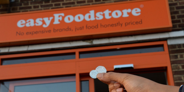 Shoppers buy items for 25p in a new easyFoodstore owned by easyJet founder Sir Stelios Haji-Ioannou in Park Royal, north-west London, in an attempt to cash in on the very cheapest end of the grocery market.
