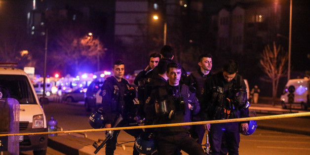 ANKARA, TURKEY - FEBRUARY 17: Turkish police secure the blast site after an explosion on February 17, 2016 in Ankara, Turkey. 21 people are believed to have been killed and at least 61 are said to be wounded according to the city's governor Mehmet Kiliclar in what appeared to have been a car bomb attack on a vehicle carrying military personnel in the Turkish capital. (Photo by Defne Karadeniz/Getty Images)