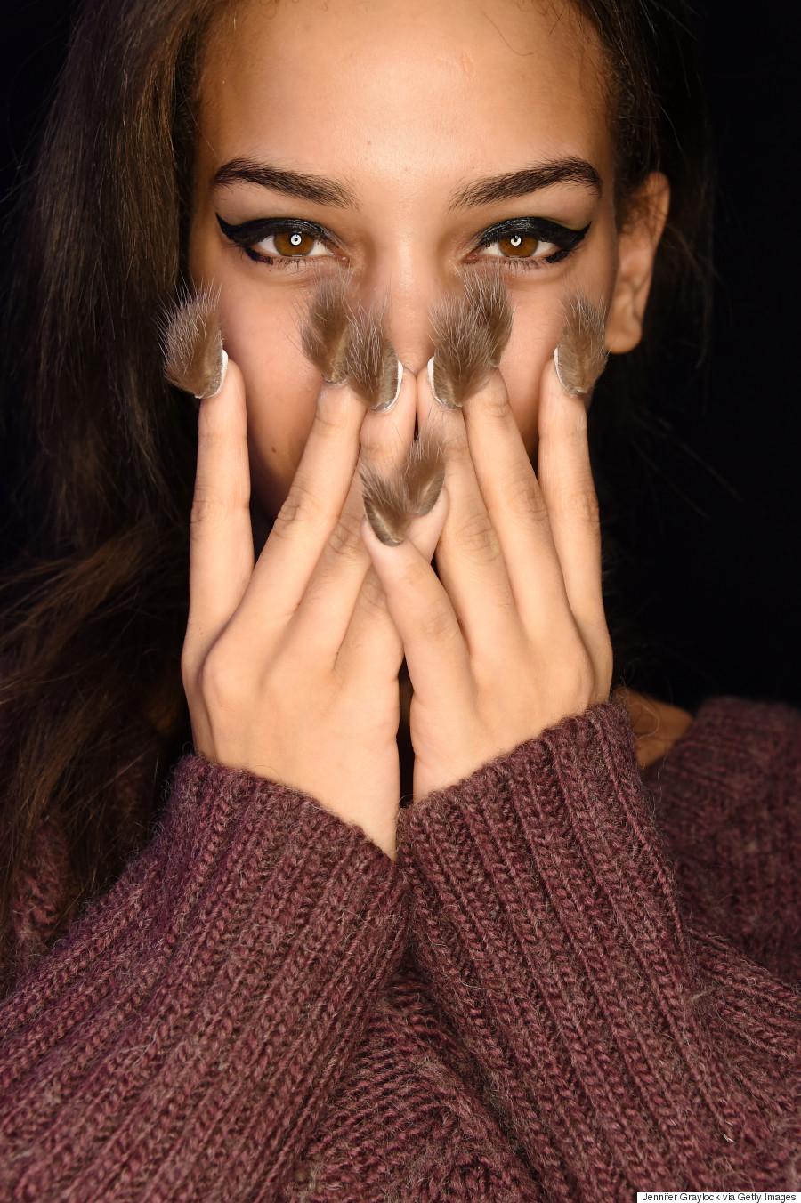 Libertine Models Don Fur Nails On The NYFW Fall 2016 Runway