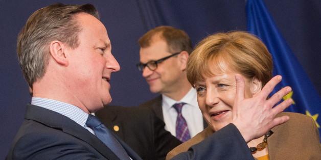 Der britische Premierminister David Cameron und Angela Merkel beim EU-Gipfel