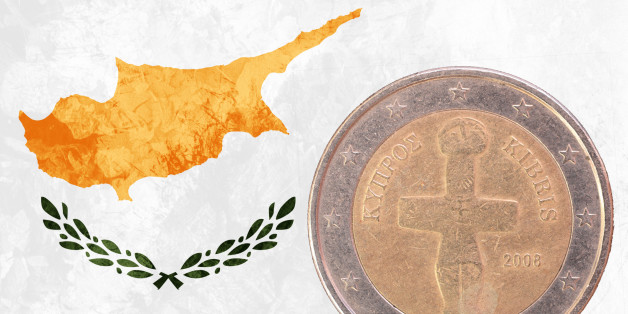 Two euros coin from Cyprus isolated on the national cypriot flag as background