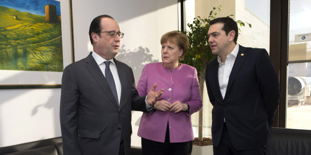 French President Francois Hollande, left, and German Chancellor Angela Merkel, center, stand with Greek Prime Minister Alexis Tsipras during a meeting on the sidelines of an EU summit in Brussels on Friday, Feb. 19, 2016. British Prime Minister David Cameron faces tough new talks with European partners after through-the-night meetings failed to make much progress on his demands for a less intrusive European Union.  (John Thys, Pool Photo via AP)