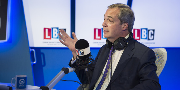 Ukip party leader Nigel Farage during 'Phone Farage', on Nick Ferrari at Breakfast on LBC, at their studios in Leicester Square, London.