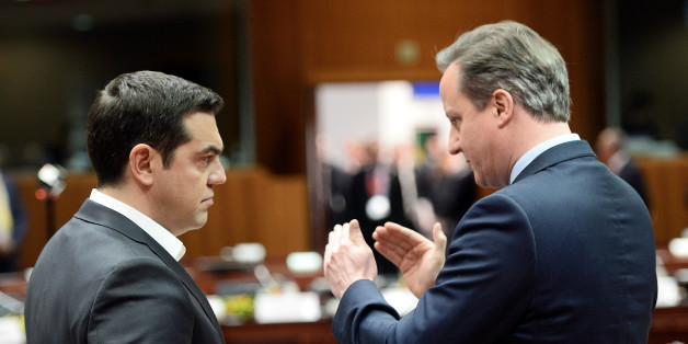 Greece's Prime Minister Alexis Tsipras (L) talks with Britain's Prime Minister David Cameron  during an EU summit meeting, at the European Council in Brussels, on February 18, 2016.EU leaders head into a make-or-break summit sharply divided over difficult compromises needed to avoid Britain becoming the first country to crash out of the bloc. / AFP / POOL / STEPHANE DE SAKUTIN        (Photo credit should read STEPHANE DE SAKUTIN/AFP/Getty Images)