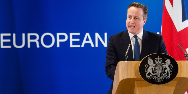 British Prime Minister David Cameron speaks during a final press conference at an EU summit in Brussels on Friday, Feb. 19, 2016. British Prime Minister David Cameron pushed a summit into overtime Friday after a second day of tense talks with weary European Union leaders unwilling to fully meet his demands for a less intrusive EU. (AP Photo/Geert Vanden Wijngaert)