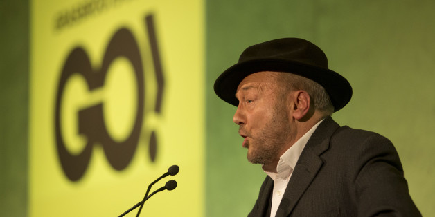 Unannounced mystery guest speaker British politician George Galloway makes a speech at a rally held by the Grassroots Out (GO), anti-EU campaign group at the Queen Elizabeth II conference centre in London, held to coincide with the EU summit in Brussels, Friday, Feb. 19, 2016. British Prime Minister David Cameron pushed a summit into overtime Friday after a second day of tense talks with weary European Union leaders unwilling to fully meet his demands for a less intrusive EU. (AP Photo/Matt Dunh