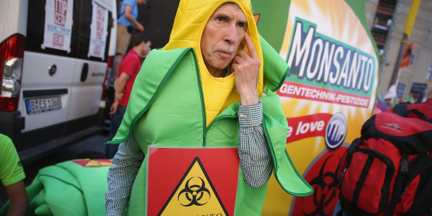 A demonstrator holds a poster during a World March Against Monsanto event in Lisbon Saturday, May 23, 2015. Marches and rallies against Monsanto, a sustainable agriculture company and genetically modified organisms (GMO) food and seeds were held in dozens of countries in a global campaign highlighting the dangers of GMO Food. (AP Photo/Armando Franca)