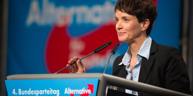 HANOVER, GERMANY - NOVEMBER 28:  Chairwoman Frauke Petry delivers her speech during the AfD (Alternative fuer Deutschland) federal party congress on November 28, 2015 in Hanover, Germany. The AFD aims to enter three new state parliaments in 2016 by luring conservative voters angry with Chancellor Angela Merkel's open-door asylum policy. This weekend the party will outline its plan to bring order to what it calls the 'asylum chaos.' (Photo by Nigel Treblin/Getty Images)