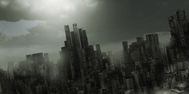 Gloomy apocalyptic scenery with destroyed buildings and fog