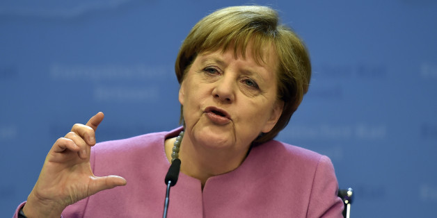 German Chancellor Angela Merkel gestures while speaking during a final press conference after an EU summit in Brussels on Friday, Feb. 19, 2016. British Prime Minister David Cameron pushed a summit into overtime Friday after a second day of tense talks with weary European Union leaders unwilling to fully meet his demands for a less intrusive EU. (AP Photo/Martin Meissner)