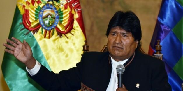 Evo Morales, lors d'une conférence de presse au Quemado palace le 22 février 2016 à La Paz en Bolivie