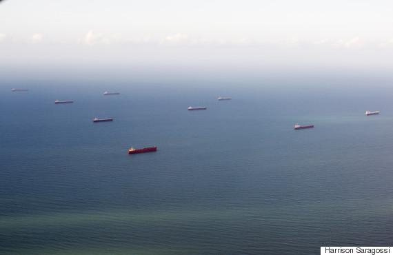 aerial views of coal ships off gladstone harbour