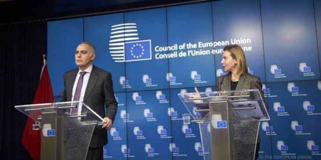 Le ministre des Affaires étrangères Salaheddine Mezouar et la chef de la diplomatie européenne Federica Mogherini