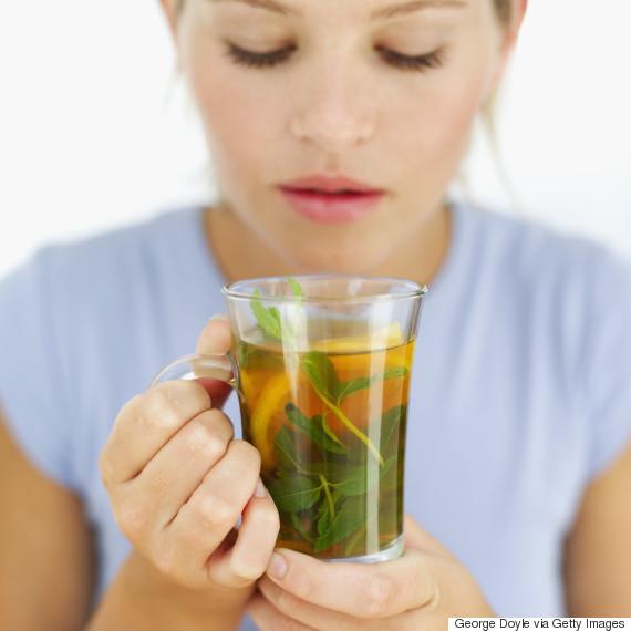 drinking herbal tea