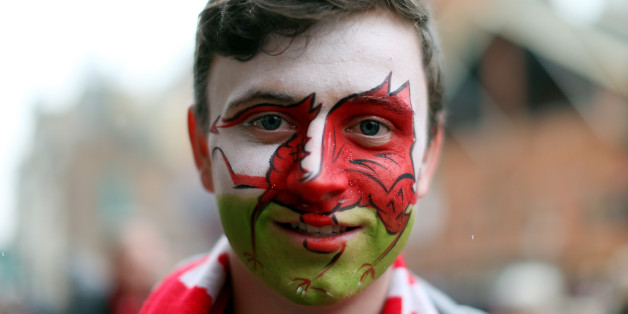 A Wales fan before the 2016 RBS Six Nations match at the Principality Stadium, Cardiff.
