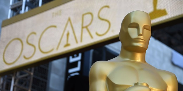 An Oscar statue is seen at the red carpet arrivals area as preparations continue for the 88th Annual Academy Awards