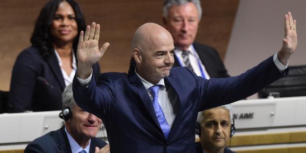Der neue FIFA-Präsident Gianni Infantino nach Verkündung des Wahlergebnisses
