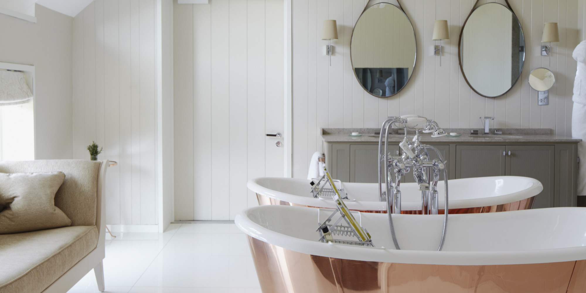An Amazing Bathroom Makeover That Only Cost $400 | HuffPost on black and white bathroom shower curtains, houzz home design, houzz shower tile design, bathroom shower curtains and window curtains, contemporary bathroom shower curtains, rustic bathroom shower curtains,