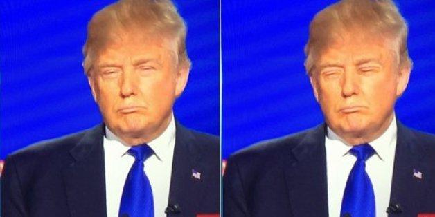 Bei dem bearbeiteten Bild wurden Trumps Augen durch seinen Mund ausgetauscht