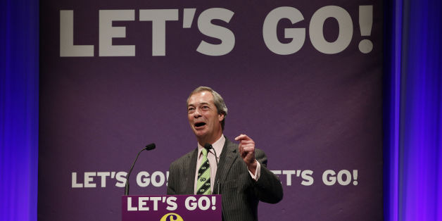 Nigel Farage leader of the UKIP Party makes his keynote address during their Spring Conference in Llandudno, North Wales.