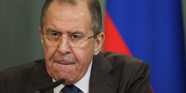 Russian Foreign Minister Sergey Lavrov reacts while speaking at a news conference after Russian-Arab forum in Moscow, Russia, on Friday, Feb. 26, 2016. (AP Photo/Ivan Sekretarev)