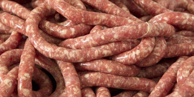 Raw, fresh sausage, full frame