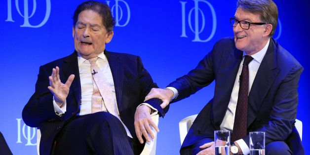 Former chancellor Nigel Lawson (left) and former business secretary Lord Peter Mandelson at the Institute of Directors convention at the Royal Albert Hall, London, during a debate on the future of the European Union.