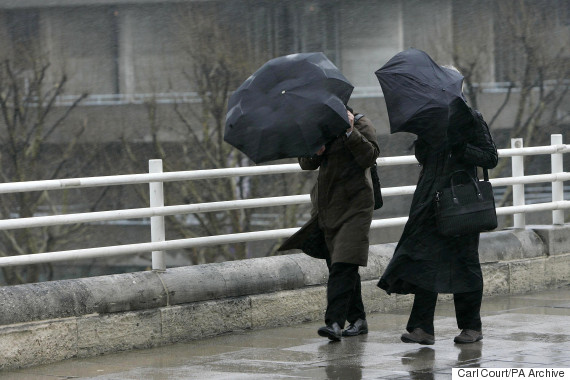 commuters rain uk