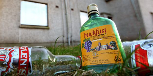 KIRKCALDY, SCOTLAND - FEBRUARY 10: Empty bottles of Vodka and Buckfast, lay outside disused houses in the village of Lochore on February 10, 2010 in Kirkcaldy, Scotland. As the UK gears up for one of the most hotly contested general elections in recent history it is expected that that the economy, immigration, the NHS and education are likely to form the basis of many of the debates.  (Photo by Jeff J Mitchell/Getty Images)