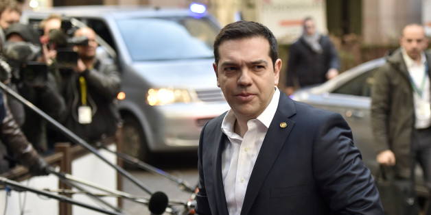 Greek Prime Minister Alexis Tsipras arrives for an EU summit in Brussels on Friday, Feb. 19, 2016. British Prime Minister David Cameron faces tough new talks with European partners after through-the-night meetings failed to make much progress on his demands for a less intrusive European Union. (AP Photo/Martin Meissner)