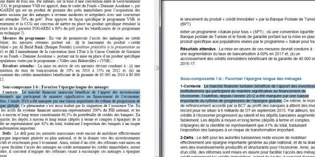 A gauche, le rapport de 2011 de la BAD sur le Maroc, à droite, le rapport de 2016 du CEA sur la Tunisie.