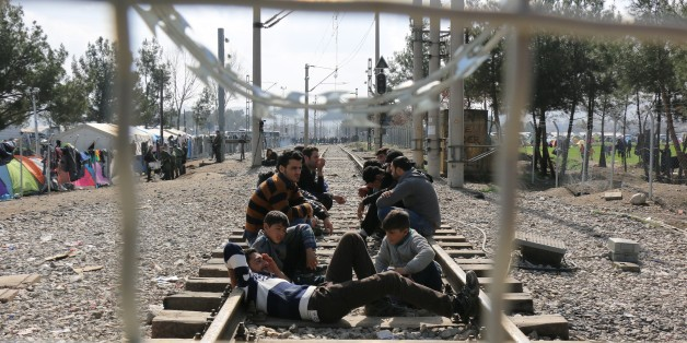 GEVGELIJA, MACEDONIA - MARCH 1: Refugees are seen on a railway at Macedonia - Greece border in Gevgelija, Macedonia on March 1, 2016. (Photo by Besar Ademi/Anadolu Agency/Getty Images)