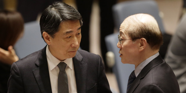 Chinese ambassador to the United Nations Liu Jieyi, right, talks with South Korean ambassador to the U.N. Oh Joon before a Security Council meeting at United Nations headquarters, Wednesday, March 2, 2016. The U.N. Security Council voted Wednesday on a resolution that would impose the toughest sanctions on North Korea in two decades. (AP Photo/Seth Wenig)