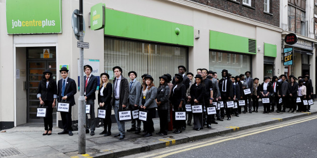 A queue of youths is seen outside the Job Centre in Charing Cross, London, to raise awareness of the million young people out of work in the UK.