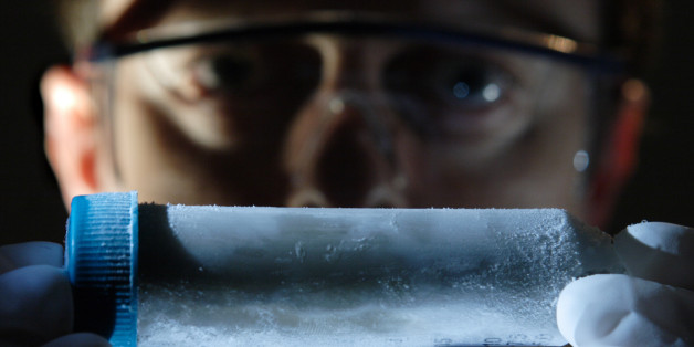 (GERMANY OUT) DEU, Germany, NRW, Witten: An employee of the Bitop Company with microorganism Pyrococcus furiosus    (Photo by Markus Matzel/ullstein bild via Getty Images)