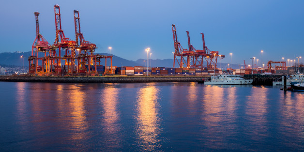 Port of Vancouver in the late evening.