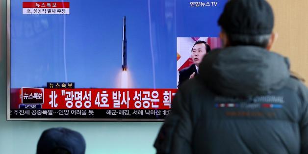 Ein Fernsehbericht über einen Raketentest Nordkoreas