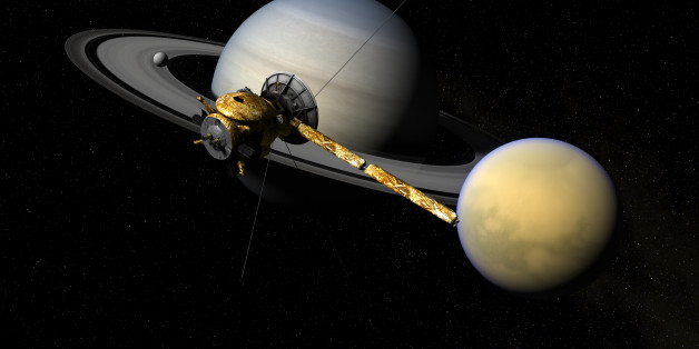 Cassini moving over Titan, Enceladus and Saturn. 