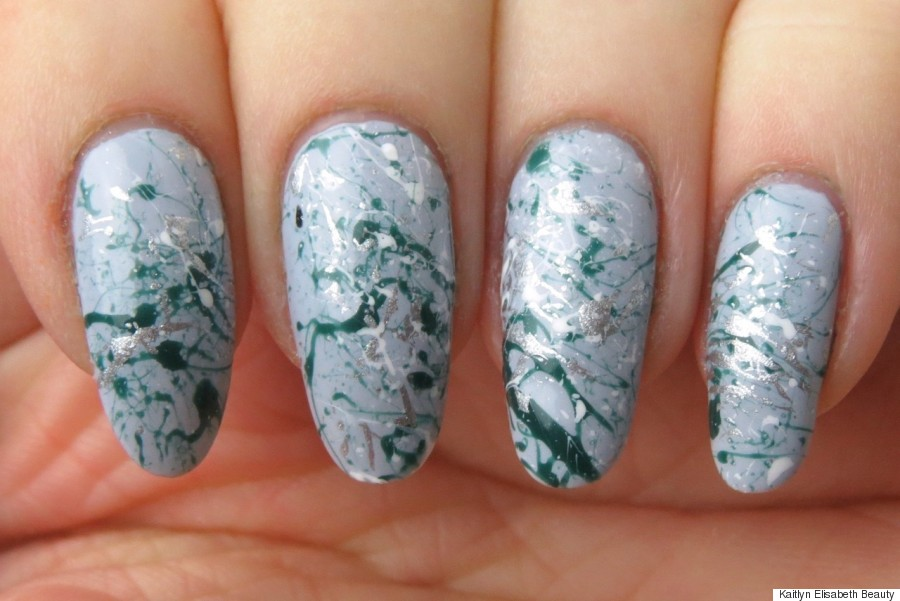 Spring Nail Art Create A Paint Splatter Design Using A Bobby Pin