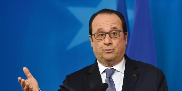 French president Francois Hollande holds a press conference during an EU leaders summit with Turkey on migrants crisis in Brussels on March 7, 2016. 