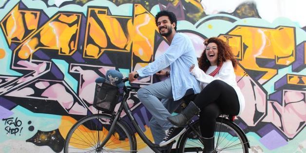 Le globe-trotteur Anass Yakine en compagnie de sa femme Amal Choulli.