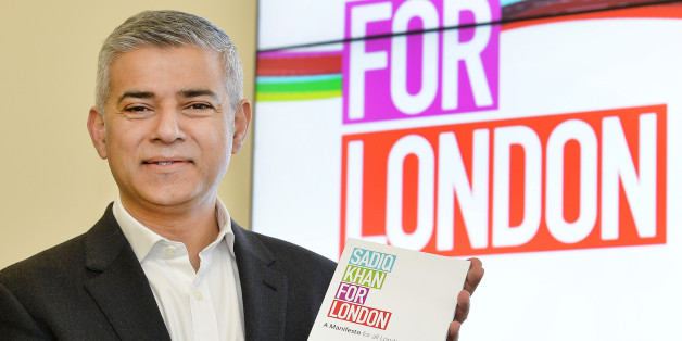 Labour's London mayoral candidate Sadiq Khan launches his manifesto in Canary Wharf, east London, as he pledged to build more affordable homes, freeze transport fares and tackle low pay and crime if he is elected in May.