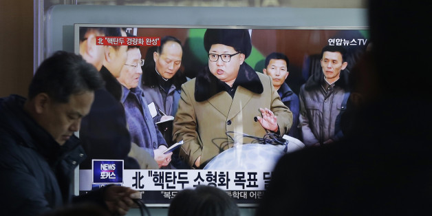 "People watch a TV news program showing North Korean leader Kim Jong Un with superimposed letters that read: ""North Korea has made nuclear warheads small enough to fit on ballistic missiles"" at Seoul Railway Station in Seoul, South Korea, Wednesday, March 9, 2016. The official North Korean news agency says the communist country's leader Kim met his nuclear scientists for a briefing and declared he was greatly pleased that warheads had been miniaturized for use on ballistic missiles. (AP Photo/Ahn"