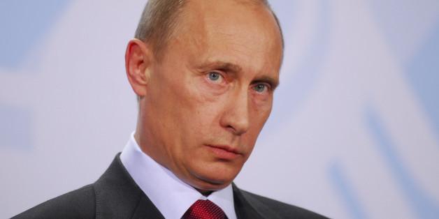 Ministerpräsident Wladimir Putin während einer Pressekonferenz in Berlin