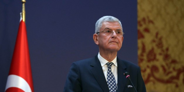 ANKARA, TURKEY - JANUARY 25: Turkey's EU Minister Volkan Bozkir holds a press conference at the end of the Turkey - European Union (EU) ministerial political dialogue meeting in Ankara palace in Ankara, Turkey on January 25, 2016.