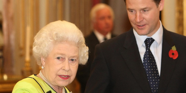 LONDON - NOVEMBER 11: Queen Elizabeth II speaks to Deputy Prime Minister Nick Clegg at the annual Civil Service Awards Reception, at Buckingham Palace, November 11, 2010 in London. (Photo by Dominic Lipinski - WPA Pool/Getty Images)